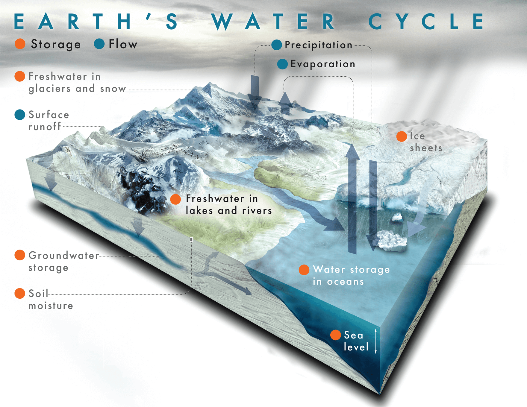 An illustration of the water cycle showing how water travels from rivers and streams to clouds to snow and back again