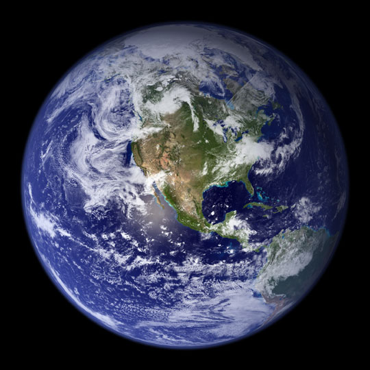 A satellite image of Earth.