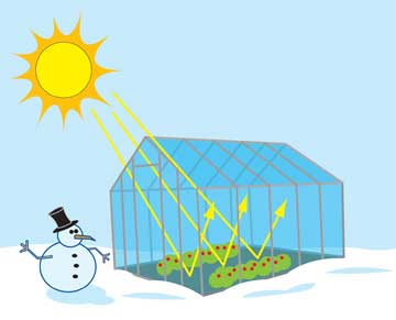A cartoon of a greenhouse with a snowman outside.
