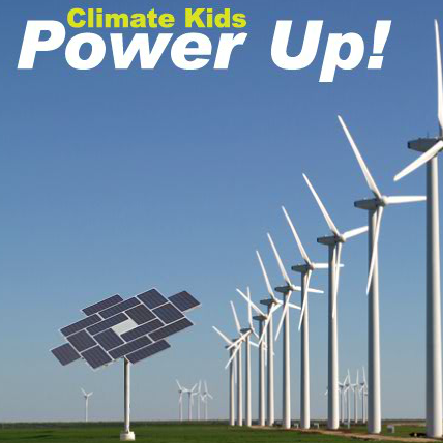 A stylized text that reads Power up with wind turbines in the background and solar panels in the foreground